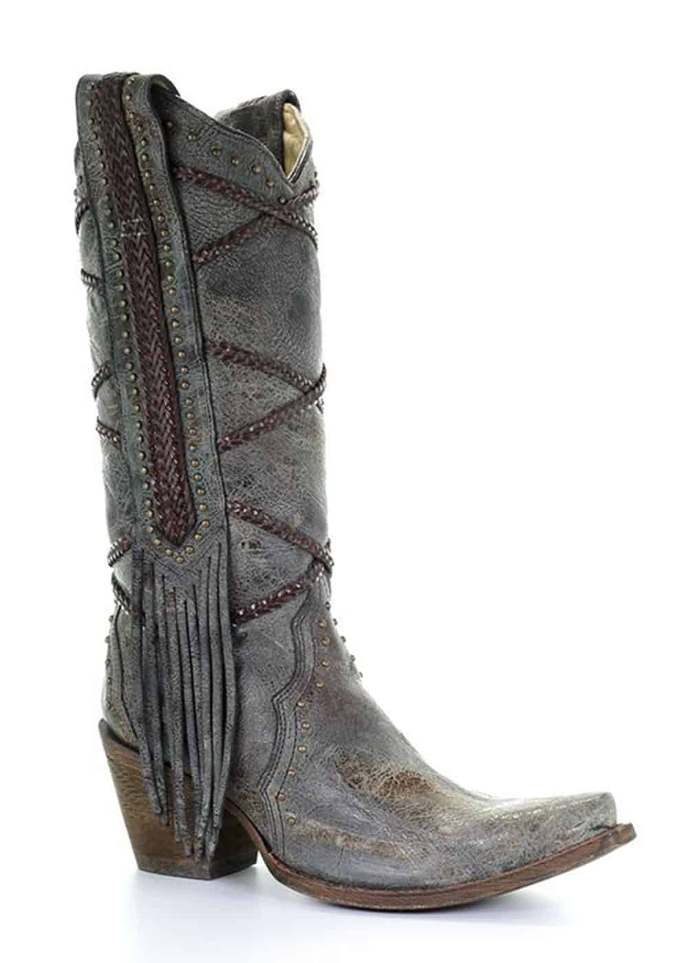gray cowgirl boot with fringe cowgirl magazine