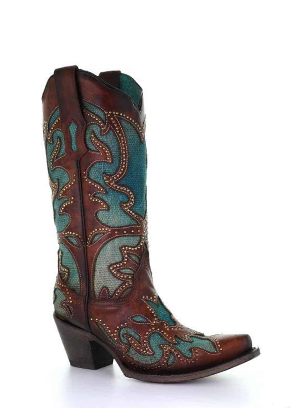 brown boots with blue inlays cowgirl magazine