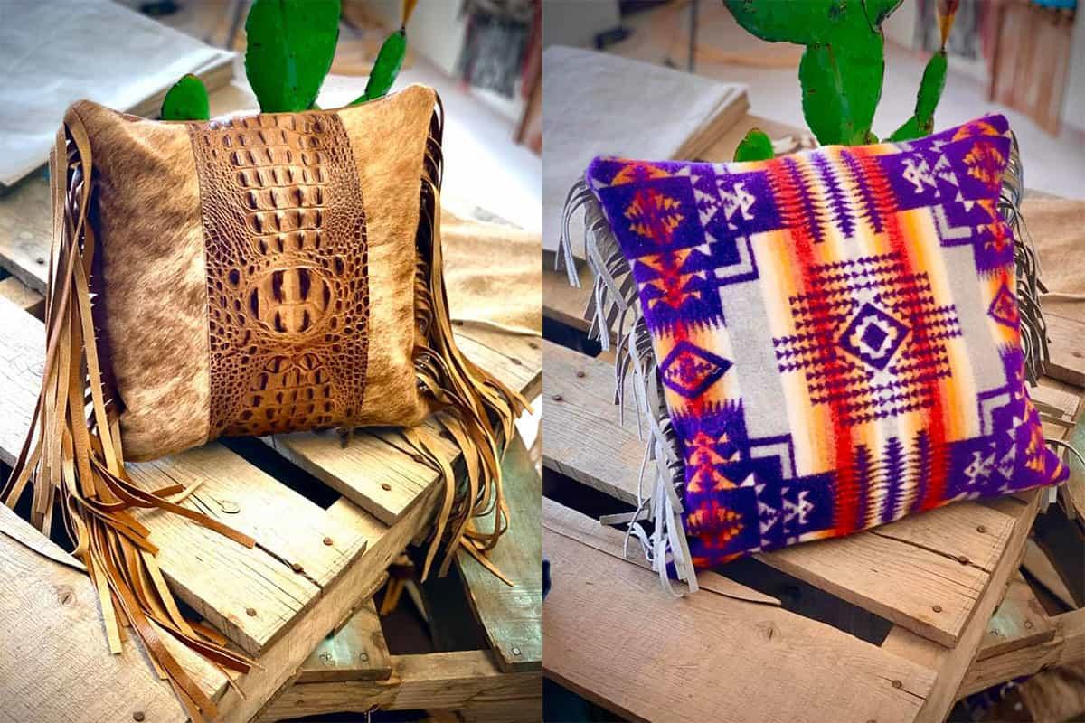 dancing cactus designs pillow pillows custom pillows cowgirl magazine cowhide pillows