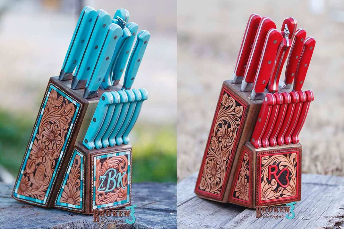 broken j designs tooled leather knife block knives knife cowgirl magazine leather work