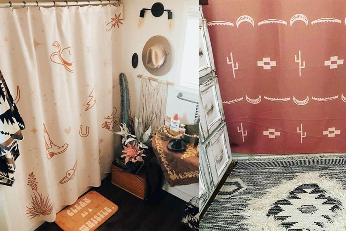 allie falcon shower curtain shower curtains cowgirl magazine home decor