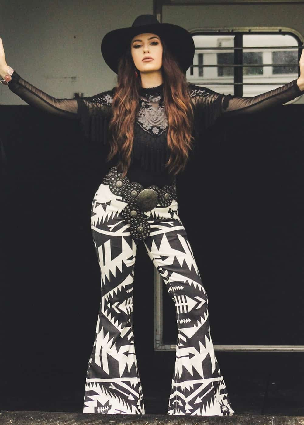 fallon taylor black and white aztec printed pants cowgirl magazine
