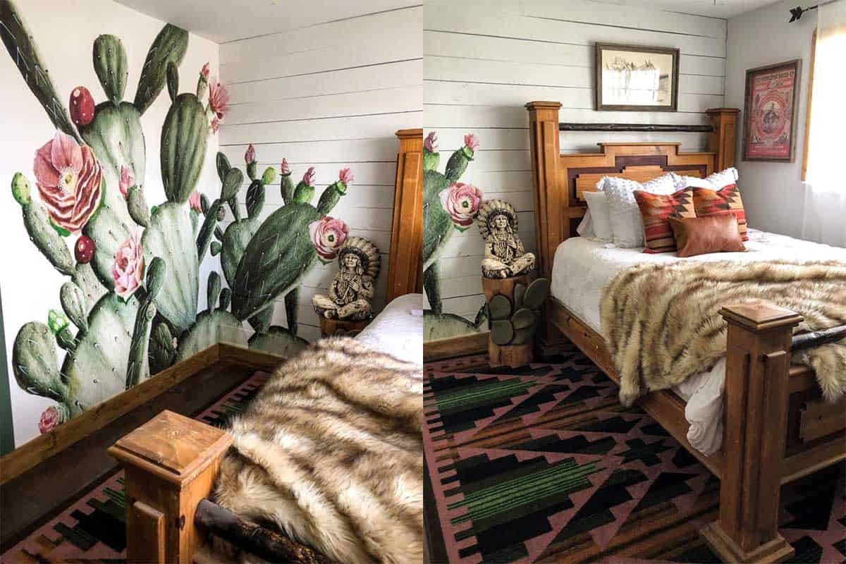 Rachel Joi guest bedroom cactus wallpaper cowgirl magazine