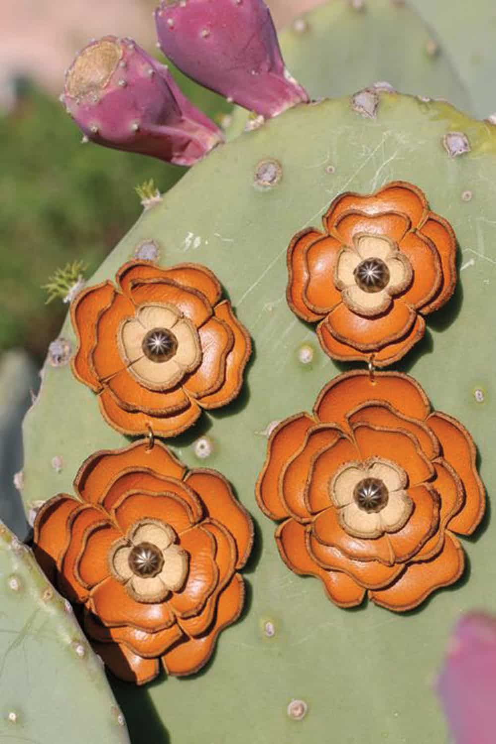 leather flower earrings cowgirl magazine