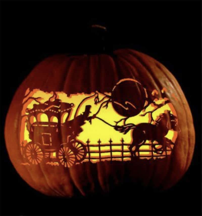 Pumpkin Carving - Happy Halloween - Cowgirl - Cowgirl Magazine - Cowgirl Halloween - Halloween - stage coach pumpkin - stage coach