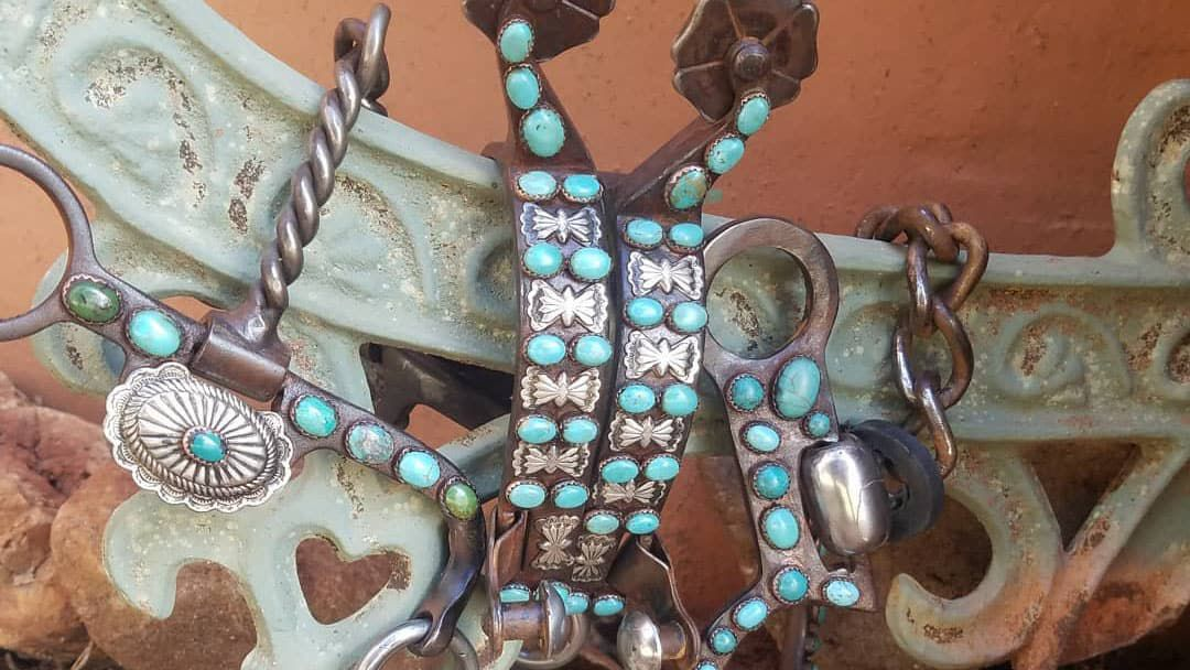 Horse bits and spurs with turquoise