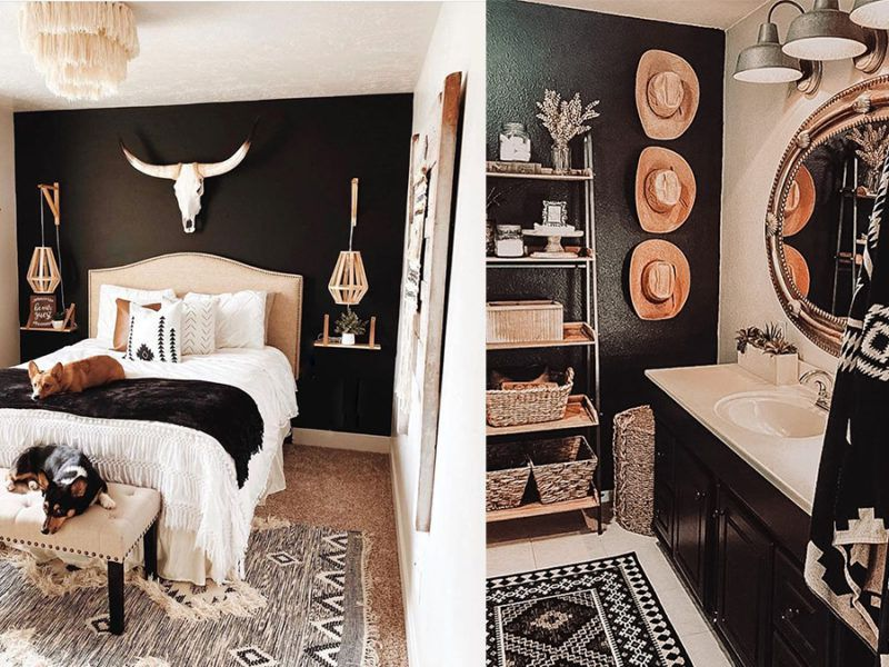 black accent wall cowgirl magazine