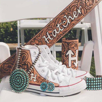 Jason Becker custom leather wedding shoes bride bridal tooled leather converse bouquet wrap cowgirl magazine