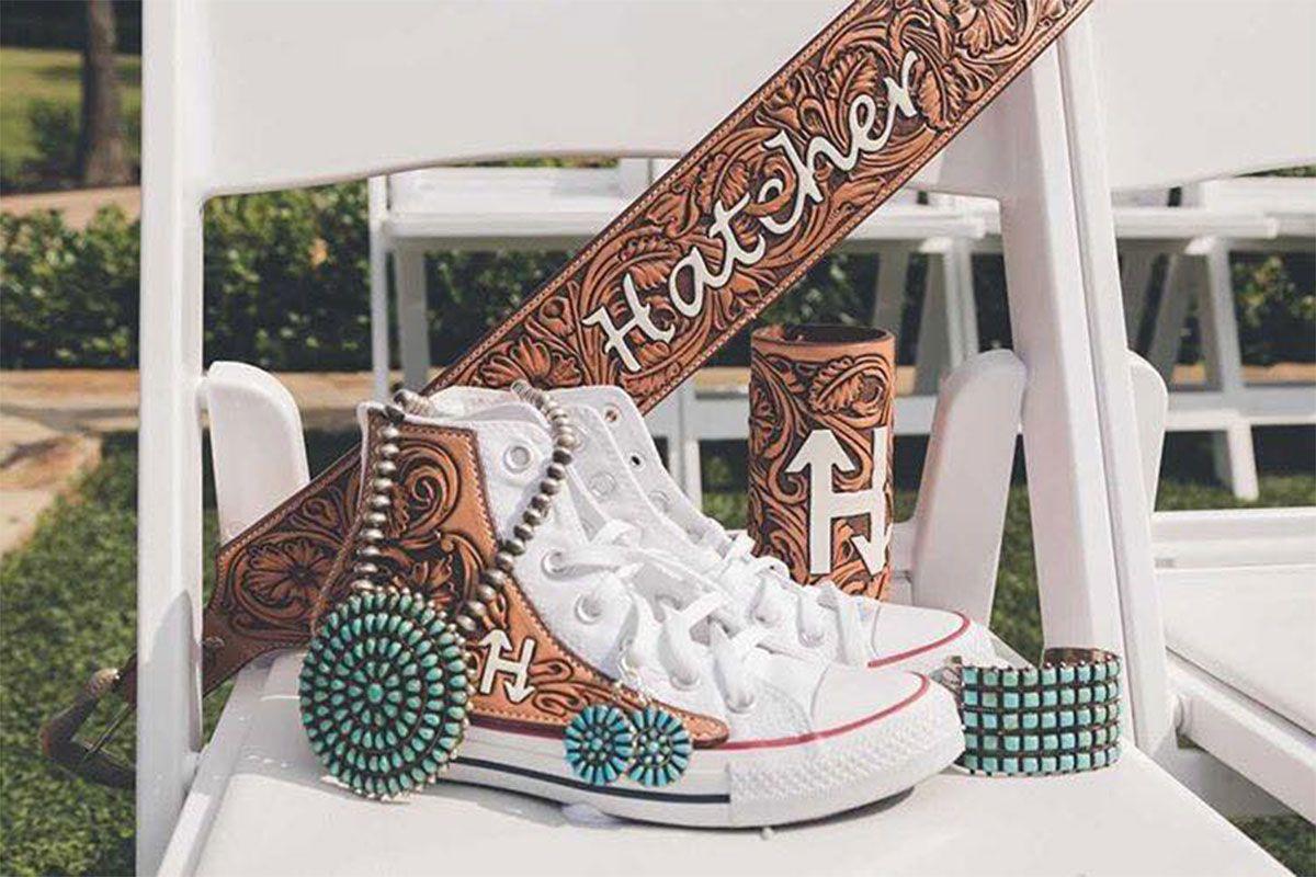 Jason Becker custom leather wedding shoes bride bridal tooled leather converse bouquet wrap cowgirl magazine