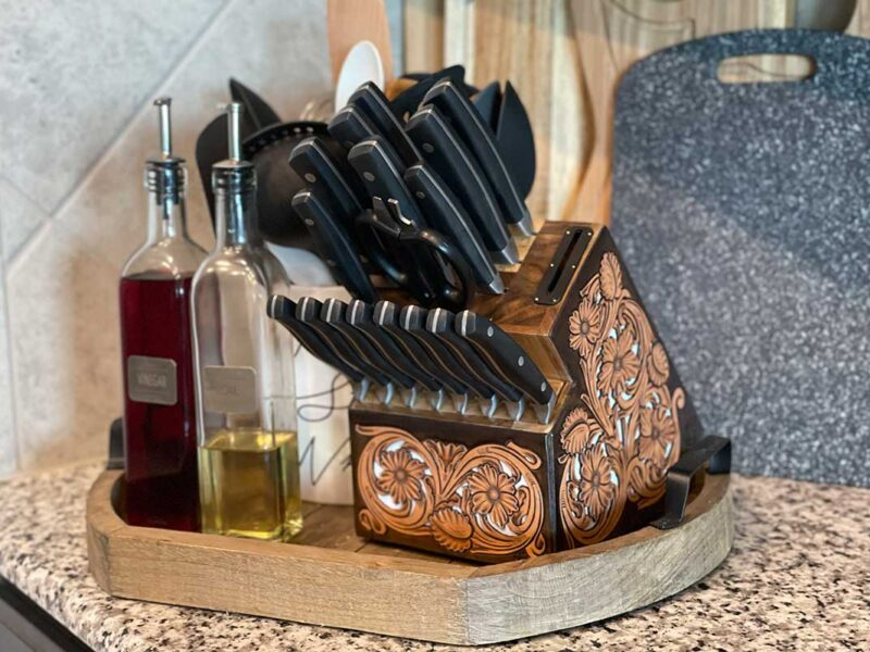 Jason Becker custom leather knife block tooled leather custom kitchen cutlery cowgirl magazine