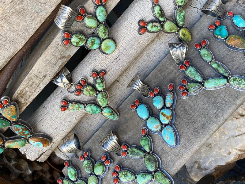 turquoise cactus pendants cowgirl magazine
