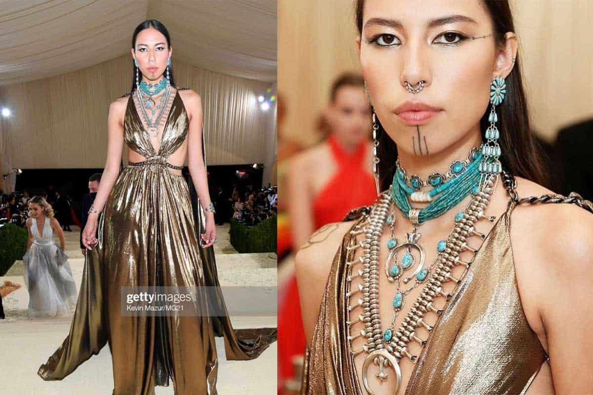 quannah chasing horse the met gala cowgirl magazine Native American turquoise